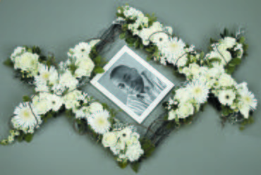 White Flowers Sympathy Tribute Frame